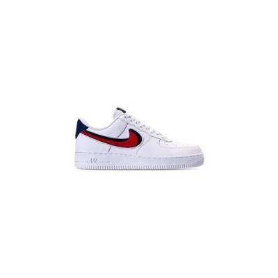 """ナイキ メンズ Nike Air Force 1 Low LV8 """"3D Chenille Swoosh"""" スニーカー White/University Red/Blue エアフォースワン"""