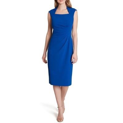 タハリエーエスエル  レディース ワンピース トップス Scuba Crepe Square Neck Cap Sleeve Side Ruched Dress Blue Buzz