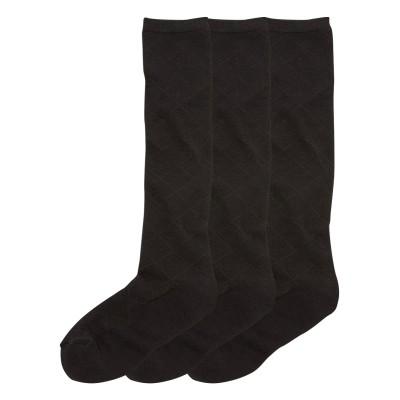 【WEB限定】綿混 黒無地 底パイルハイソックス3足組(フリーサイズ) ハイソックス・オーバーニー, Socks