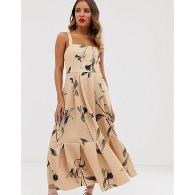 エイソス レディース ワンピース トップス ASOS DESIGN floral cami prom pep hem midi dress