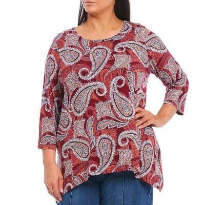 ルビーロード レディース Tシャツ トップス Plus Size Paisley Print 3/4 Sleeve Sharkbite Hem Knit Top Pumpkin Multi