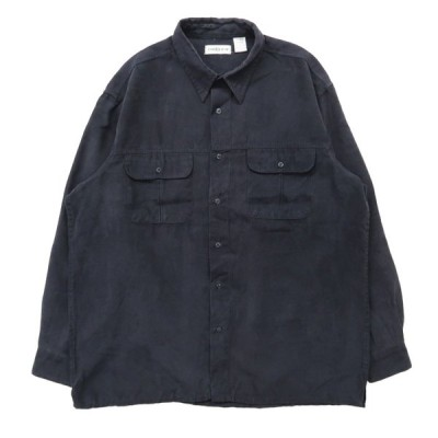 フェイクスウェード ボックスシャツ 長袖 ブラック サイズ表記:XL