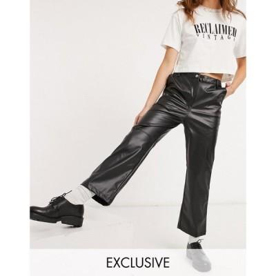 リクレイム ヴィンテージ Reclaimed Vintage レディース ボトムス・パンツ inspired highwaist leather look flare trouser in black ブラック