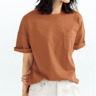 クルーネックTシャツ(綿100%)/チェスナットブラウン/LL