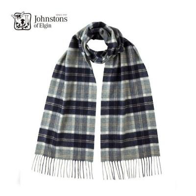ジョンストンズ カシミアマフラー シルバーバノックベーン 25cm Jhonstons of Elgin scarf silver bannockbane
