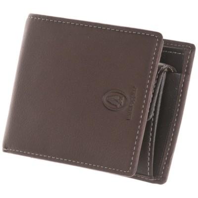 メンズ 【在庫限り】ハッシュパピー ソフトレザーシリーズ二つ折り財布小銭入れ付き チョコレート