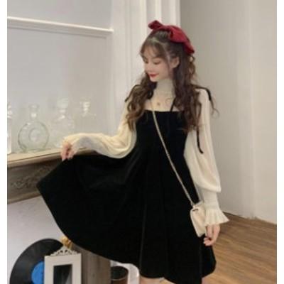 韓国 ファッション レディース セットアップ ブラウス ジャンパースカート ひざ丈 シースルー ベルベット リボン ガーリー