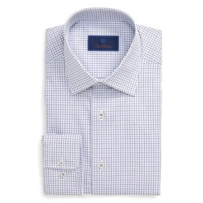 デイビッドドナヒュー シャツ トップス メンズ Regular Fit Check Dress Shirt White/ Purple
