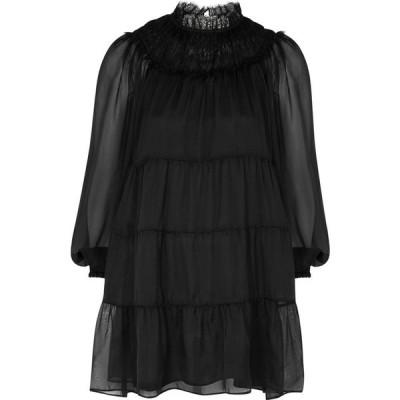 アリス アンド オリビア Alice + Olivia レディース パーティードレス ティアードドレス Kellyann Black Tiered Silk-Chiffon Mini Dress Black