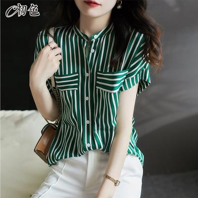 初色  條紋立領襯衫-綠色-(M-2XL可選)