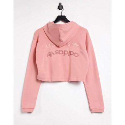 アディダス adidas Originals レディース パーカー トップス Cropped Hoodie In Pink ピンク