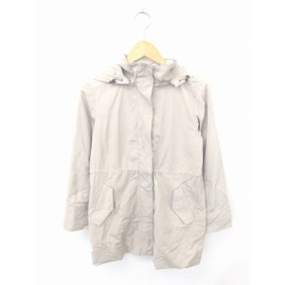 【中古】アンタイトル UNTITLED コート アウター フード ジップアップ ひざ丈 無地 綿 長袖 1 薄茶 ライトベージュ