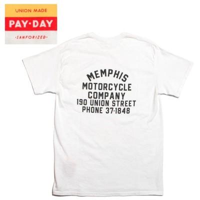 PAYDAY Tシャツ バックプリント 胸ポケット付き ペイデイ MEMPHIS ホワイト