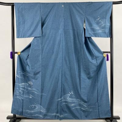 大島紬 美品 名品 証紙あり 一つ紋 青緑 袷 身丈160cm 裄丈64.5cm M 正絹 中古