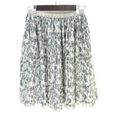 【中古】シップス SHIPS 美品 ギャザー スカート フレア ミドル 膝丈 総柄  グレー レディース