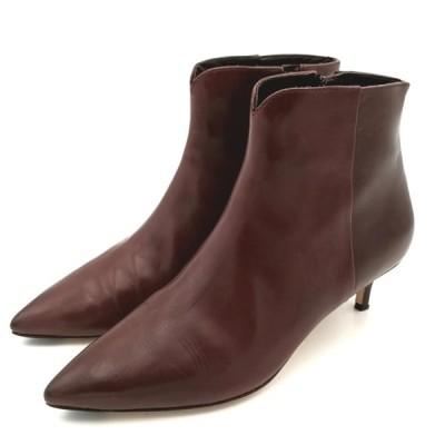 送料無料 コールハーン COLE HAAN GRAND OS ショートブーツ 靴 シューズ サイドジップ レザー 本革 6B 23cm相当 茶 ブラウン系 レディース