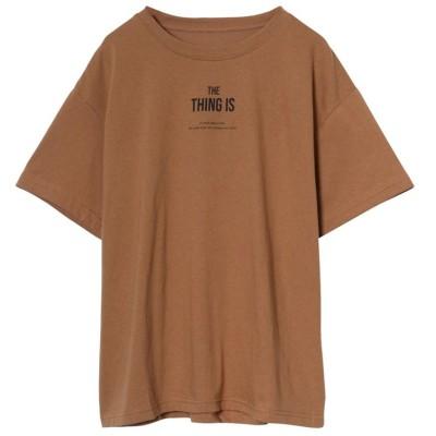 リエディ Re:EDIT [お家で洗える][人と地球にやさしい][インフルエンサーコラボ]綿天竺メッセージロゴTシャツ (キャメル×ブラック)