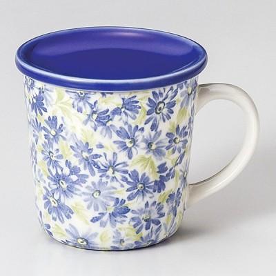 和食器 マーガレットブルー蓋付 マグカップ コーヒー 珈琲 紅茶 カフェ おしゃれ 陶器 うつわ おうち 軽井沢 春日井 ギフト