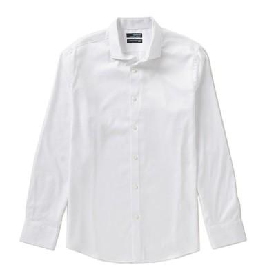ムラノ メンズ シャツ トップス Wardrobe Essentials Long-Sleeve Slim-Fit Textured Spread-Collar Sportshirt White