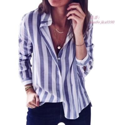 新しいブラウス夏 女性長袖縦縞ボタンダウンブラウス女性 カジュアルなトップス グループ上 レディース衣服 から ブラウス シャツ 中