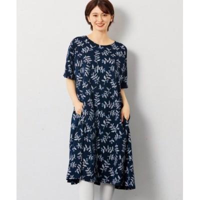 【大きいサイズ】 北欧風プリントのふんわりカットソーワンピース ワンピース, plus size dress