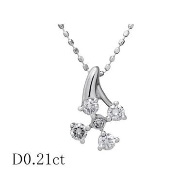 清水屋《送料無料》5Pダイヤモンド/0.21ct デザイン ネックレス K18WG【JSP】