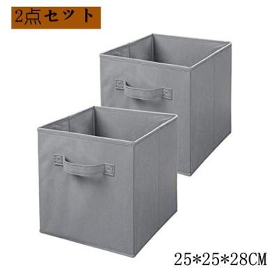 ベーシック 収納ボックス 収納キューブケース 折りたたみ式 2点セット グレー