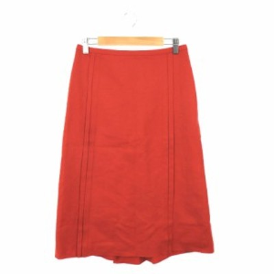 【中古】アダムエロペ Adam et Rope' スカート 台形 ロング ミモレ ウール 36 赤 レッド /TM レディース