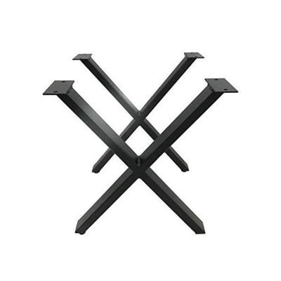 モダンインダストリアル Xテーブル脚 2個セット セルフレベリング 高耐久 キッチン ダイニング&ベンチ脚 パウダーコーティング フラットブラック 高