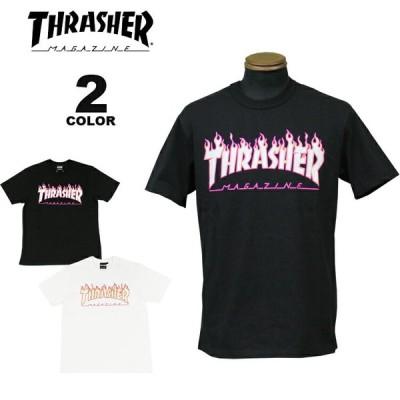 【SALE】(公式)スラッシャー Tシャツ THRASHER FLAME PINK OUTLINE S/S T-SHIRTS 半袖 TEE プリント メンズ レディース ユニセックス 全2色 S-XXL