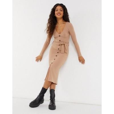 ニュールック レディース ワンピース トップス New Look soft ribbed tie belt dress in camel Camel