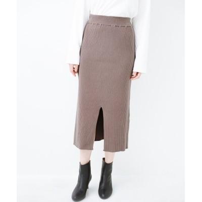 【ハコ】 すっきり見えて大人っぽい!ゆるトップスとの相性抜群なリブニットタイトスカート レディース グレイッシュベージュ LL haco!
