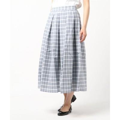 スカート 先染めチェックタックロングスカート