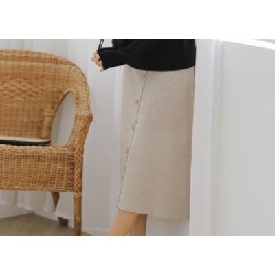 ニットスカート ニット スカート 膝下丈 3色展開 ハイウエスト フロントボタン フレアスカート ウェストゴム レディース LiLi-0005
