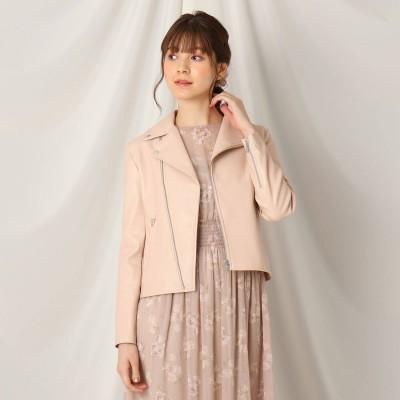 クチュール ブローチ Couture brooch エコレザーライダースジャケット (ピンク)