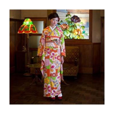 振袖 着物 袷 洗える着物 単品 紅一点 お仕立て上がり着物 市松に桜菊(赤橙 FL16)花柄 さくら うめ フリソデ 成人式 ポリエステル 雨の日 即日発送 新品