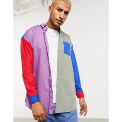 エイソス メンズ シャツ トップス ASOS DESIGN oversized cut and sew color block shirt Multi