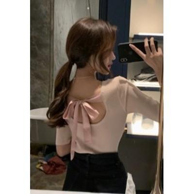 カットソー Tシャツ トップス 七分袖 ゆったり バックリボン 大人可愛い カジュアル おしゃれ きれいめ フェミニン 春夏  ホワイト ブラ