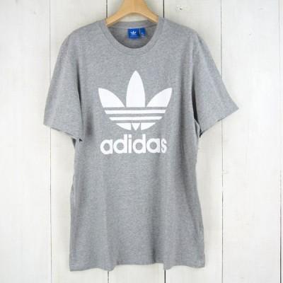 ■アディダスオリジナルス adidas originals*トレフォイルロゴプリント半袖コットンTシャツ(L)グレー【中古】t200922073
