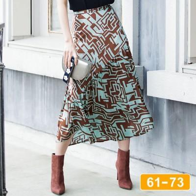 Ranan 【61~73】幾何柄アシメトリースカート ソノタ ウエスト73cm レディース