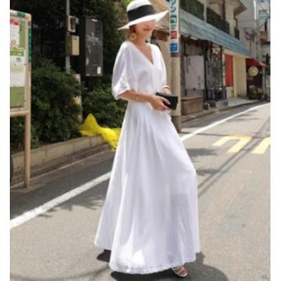 韓国 ファッション レディース ワンピース ロング マキシ Vネック ハイウエスト フレア 大きいサイズ ゆったり 半袖 無地 大人可愛い
