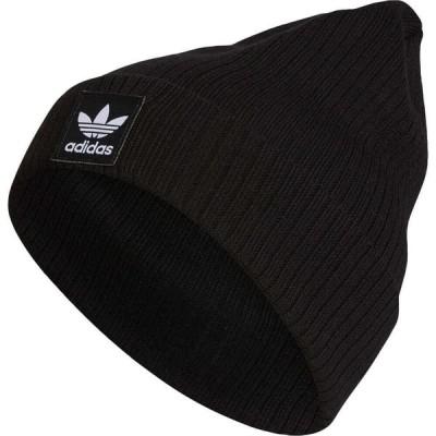 アディダス ADIDAS ORIGINALS メンズ ニット ビーニー 帽子 Logo Rib Beanie Black