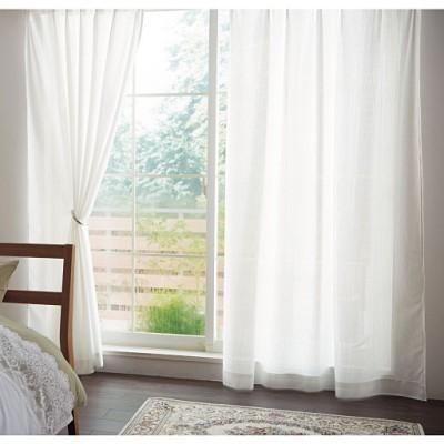 ミラーレースカーテン(抗菌防カビ加工)/窓の結露・梅雨のカビ対策/オフホワイト/幅100×丈98cm(2枚組)