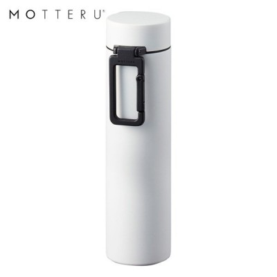 MOTTERU カラビナハンドルサーモステンレスボトル 360ml MO-3005-044 ホワイト ゴーウェル 水筒 保冷 保温 2層構造 直飲み