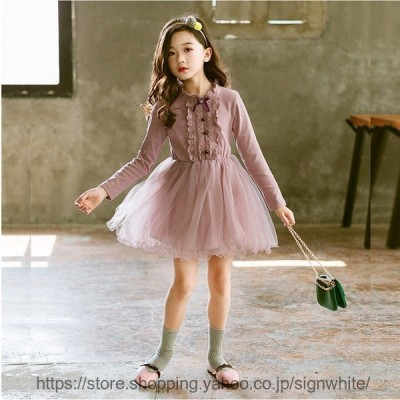 子供 ワンピース 子どもドレス ピアノ 発表会 長袖 フォーマルドレス 韓国子供服 結婚式 七五三 キッズ ベビー 赤ちゃん チュールスカート ふわふわ 可愛い