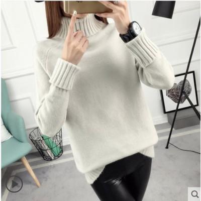 大好評、低価格セール2020韓国ファッション秋冬の新型女性ハイネックセーターはゆったりとした上にニットを着て、厚い長袖にアンダーシャツを着る。
