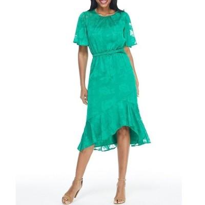 マギーロンドン レディース ワンピース トップス Petite Size Tonal Floral Flutter Sleeve Ruffled Hi-Low Hem A-Line Midi Dress Kelly Green