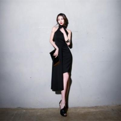 パーティードレス 大きいサイズ 結婚式 二次会 ワンピース ホルターネック アシンメトリー ドレス ノースリーブ 小さいサイズ 韓国 3L
