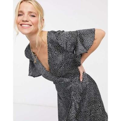 アックスパリ レディース ワンピース トップス AX Paris mini wrap dress in black ditsy polka Ditsy polka
