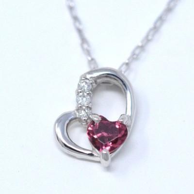 オープンハート ネックレス ペンダント 10月 ハート誕生石 ピンクトルマリン ダイヤモンド Heart in heart ネックレス ホワイトゴールド  プレゼント